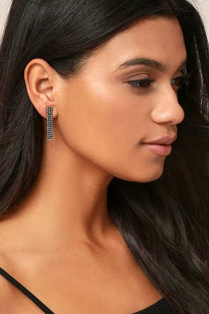 Building Blocks Silver Rhinestone Earrings 1