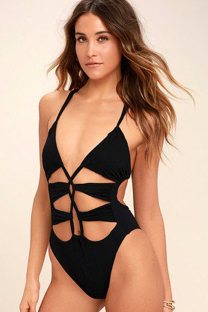 Blue Life Woodstock Black Lace-Up One Piece Swimsuit 1