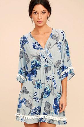 Pom Reader Light Blue Floral Print Dress 1