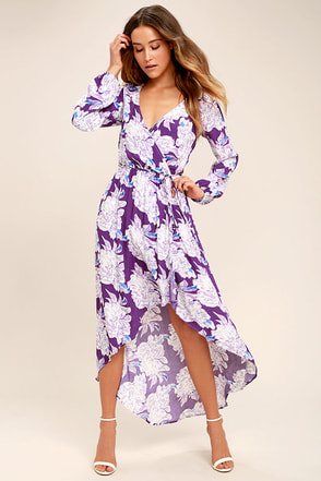 Lucy Love Raw Beauty Purple Floral Print High-Low Dress 1