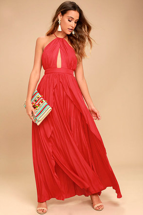 On My Own Red Maxi Dress 1