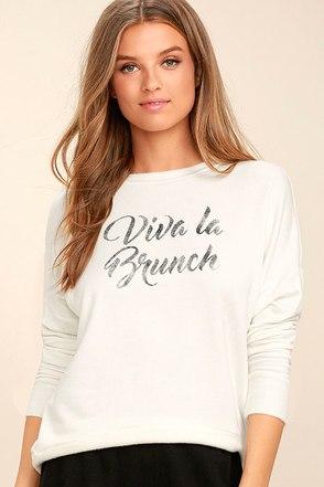 Daydreamer Viva La Brunch White Sweater 1