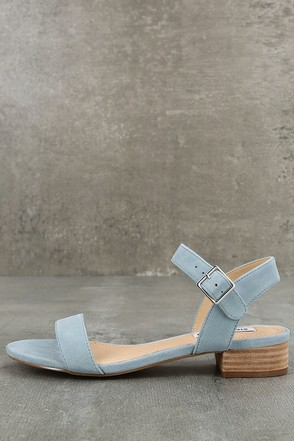 Steve Madden Cache Light Blue Suede Leather Heeled Sandals 1