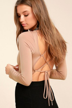 Meant for You Blush Lace-Up Bodysuit 1