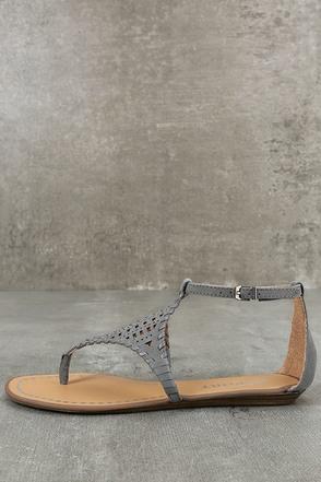 Report Ladon Grey Suede Flat Sandals 1