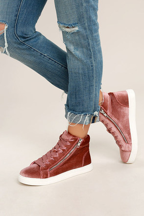 Madden Girl Eppic Blush Velvet High-Top Sneakers 1