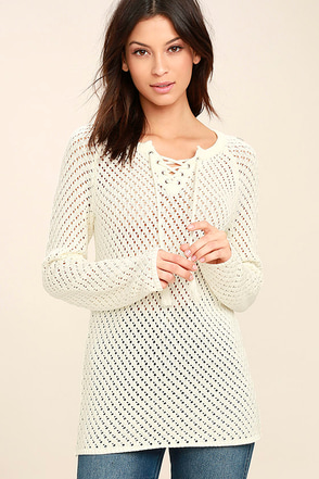 Olive & Oak Louisa Cream Crochet Lace-Up Sweater 1