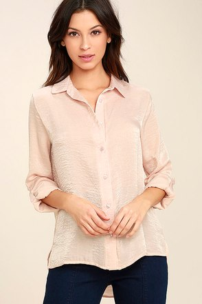 Boss Lady Light Peach Satin Button-Up Top 1
