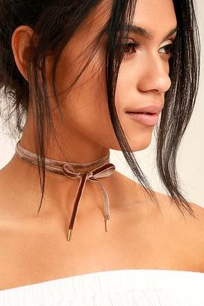 Lock it Up Brown Velvet Wrap Necklace 1