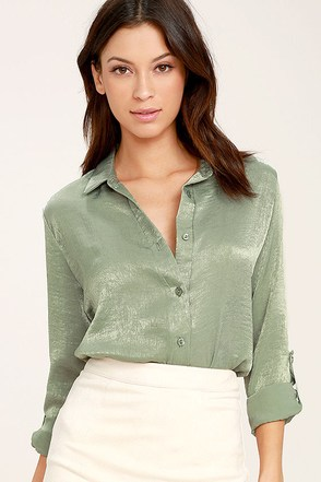 Boss Lady Sage Green Satin Button-Up Top 1