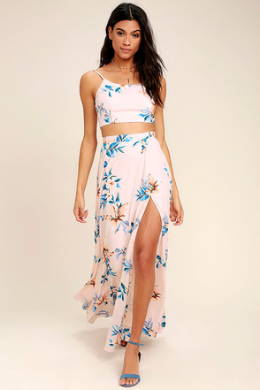 Barefoot at the Beach Light Peach Print Two-Piece Maxi Dress 1