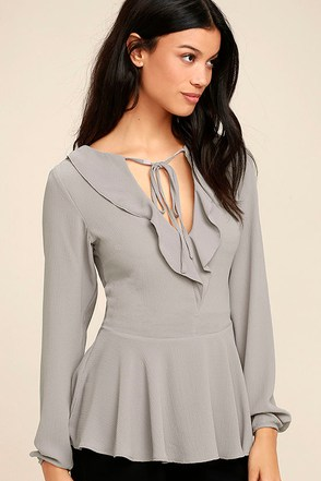 Sugar Sweet Grey Long Sleeve Peplum Top 1