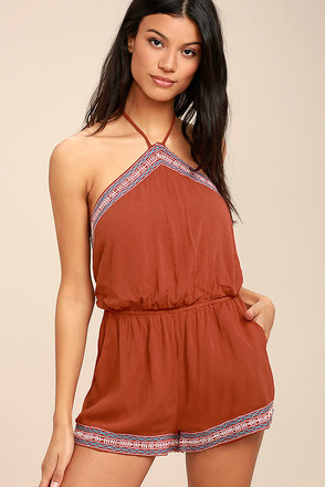 Tidewater Rust Red Embroidered Romper 1