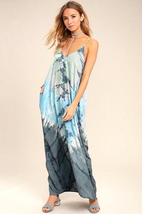 Crashing Waves Blue Tie-Dye Maxi Dress 1