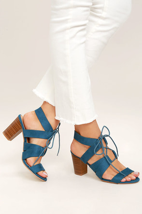 Jelena Light Blue Suede Lace-Up Heels 1