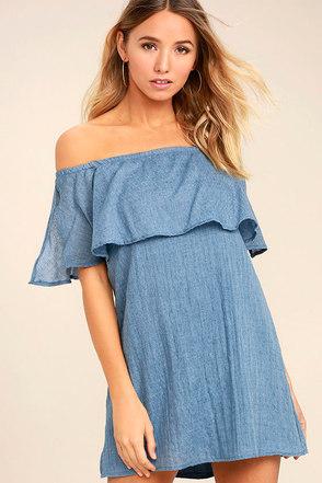Hello Sunshine Denim Blue Off-the-Shoulder Dress 1