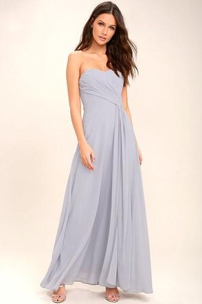 Romantic Ballad Grey Strapless Maxi Dress 1