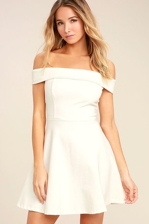 Season of Fun White Off-the-Shoulder Skater Dress 1