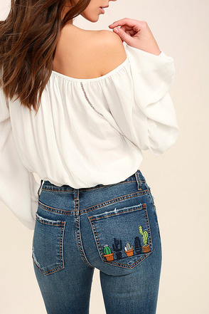 Cacti On You Medium Wash Embroidered Skinny Jeans 1