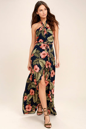 Splendorous Navy Blue Floral Print Halter Wrap Dress 1