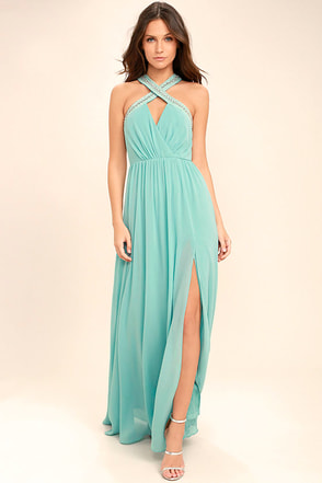 My Love Has Come Along Mint Blue Beaded Maxi Dress 1