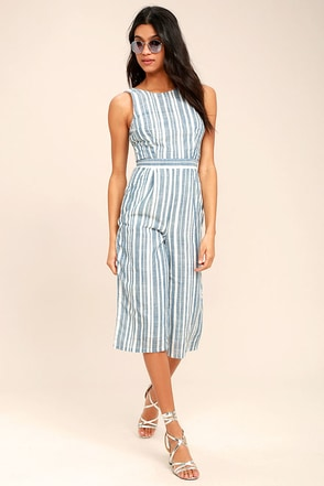 Olive & Oak My Dearest Blue and White Striped Midi Jumpsuit 1