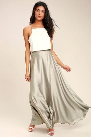 Picture Perfect Light Grey Satin Maxi Skirt 1