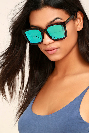 Quay Genesis Tortoise and Blue Mirrored Sunglasses 1