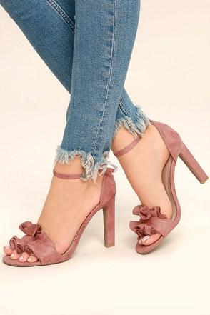 Idola Mauve Suede Ankle Strap Heels 1