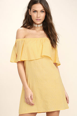 Hello Sunshine Yellow Off-the-Shoulder Dress 1