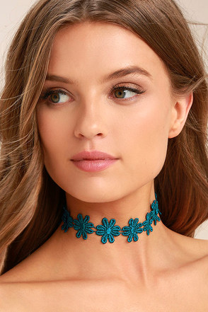 Daisy Daze Teal Blue Lace Choker Necklace 1