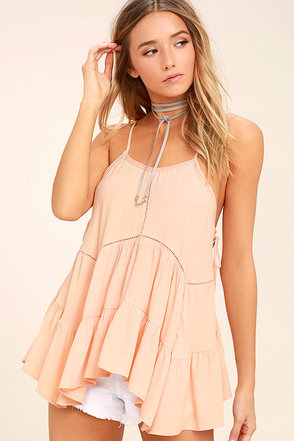 Breathe Easily Light Pink Lace-Up Top 1