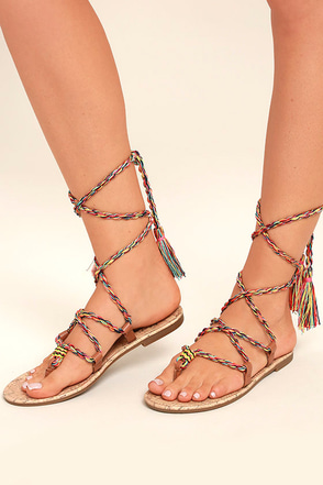 Circus by Sam Edelman Beth Saddle Brown Lace-Up Flat Sandals 1