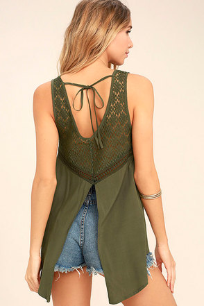 Anything is Possible Olive Green Lace Top 1