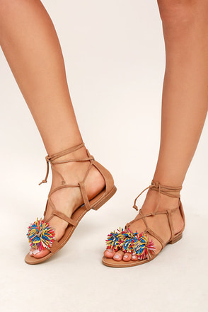 Steve Madden Swizzle Natural Multi Suede Leather Lace-Up Sandals 1