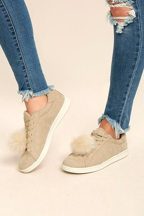 Madden Girl Baabee Nude Suede Pompom Sneakers 2