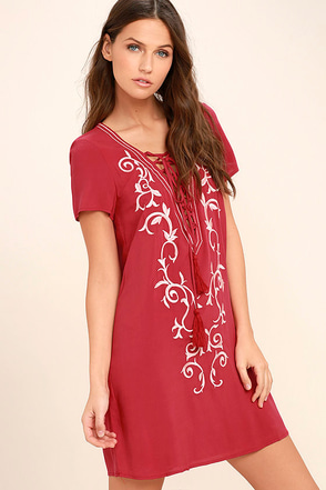 Down in Kokomo Red Embroidered Lace-Up Dress 1