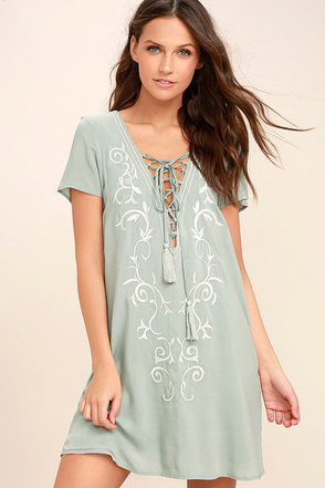 Down in Kokomo Dusty Sage Embroidered Lace-Up Dress 1