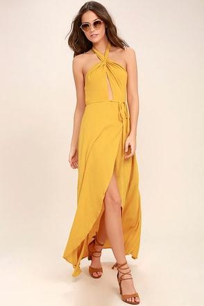Marisha Golden Yellow Halter Wrap Dress 1