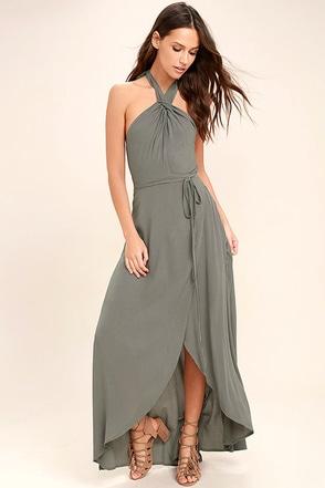 Marisha Washed Olive Green Halter Wrap Dress 1
