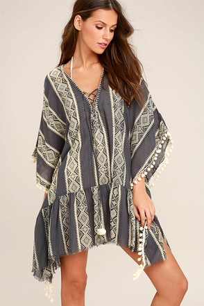 Can't Get Enough Charcoal Grey Print Cover-Up 1
