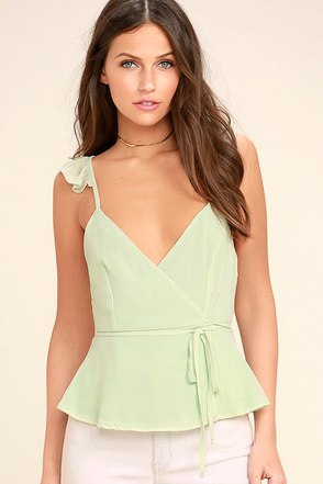 Totally In Love Mint Green Wrap Top 1