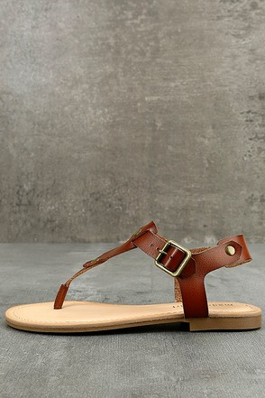 Madden Girl Matcha Cognac Thong Sandals 1