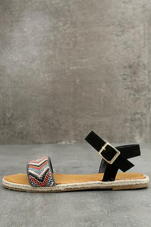 Deianira Black Beaded Espadrille Flat Sandals 1