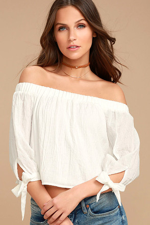 Tender Moments White Off-the-Shoulder Crop Top 1