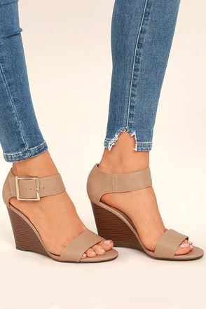 Neysa Natural Ankle Strap Wedges 1