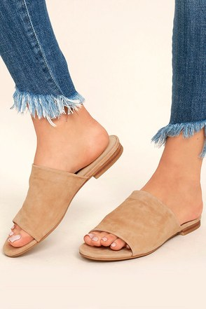Steven by Steve Madden Calahan Sand Suede Leather Peep-Toe Mules 1