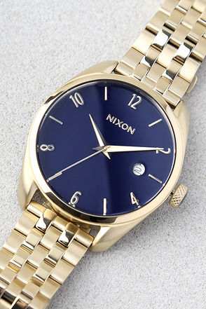 Nixon Bullet Light Gold and Navy Watch 1