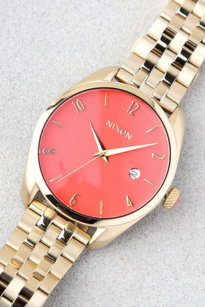 Nixon Bullet Light Gold and Coral Watch 1