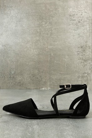 Rayna Black Suede Pointed Flats 1